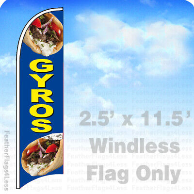 Gyros - Windless Swooper Feather Flag Banner Sign 2.5x11.5 Bb
