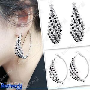 Fashion Elegant Bling Crystal Black White Rhinestone Big Ear Hoop Earrings