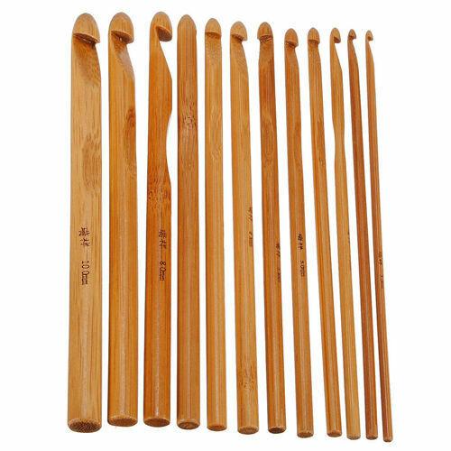 12x Bamboo Wooden Handle Crochet Hooks 3mm-10mm Knit Handcra