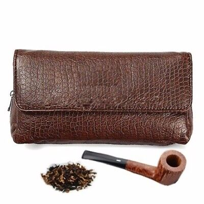 Brown PU Leather Smoking Pipe Case Pouch Tobacco Bag Tamper Filter Tool Cleaner