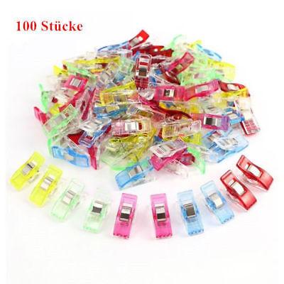 Neu 100 bunte Farben Wonder Clips Nähklammern Stoffklammern Nähzubehör Nähen