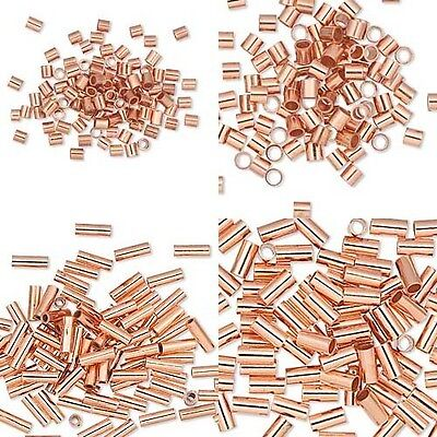 10 Pure Copper Crimp Tube Beads Findings for Ending Beading Cord & Wire Ends Copper Crimp End