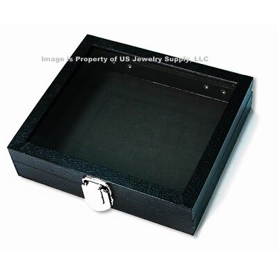 1 Black Glass Top Lid With Black Pad Jewelry Medals Display Case Box