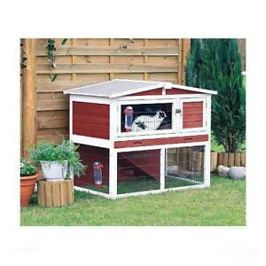 New Trixie Small Animal Hutch with Outdoor Run, Peaked Roof, Red/Whte, PICKUP ONLY - DI4
