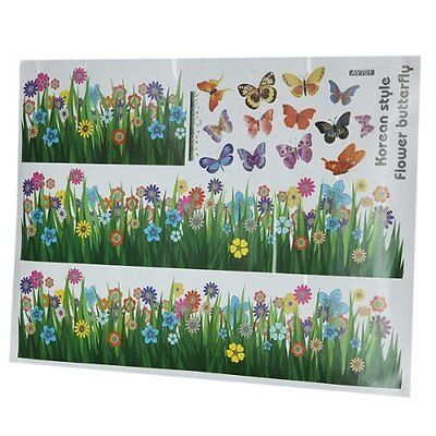 Grass Flower Butterfly Pattern Removable Wall Sticker Decal Art DIY Home DecorLW