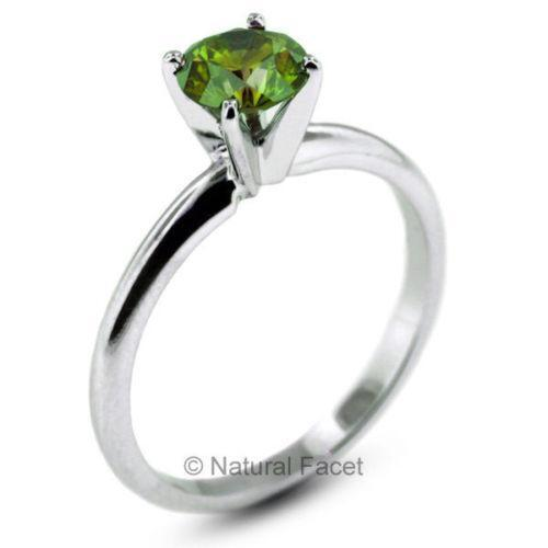 Green emerald engagement ring ebay for Emerald green wedding ring