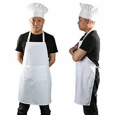 Yotache Chef Apron Set Chef Hat And Kitchen Apron Adult Adjustable White Apro...