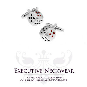 Luxury Men's set (pair) of Highly Polished Dice Themed Cufflinks