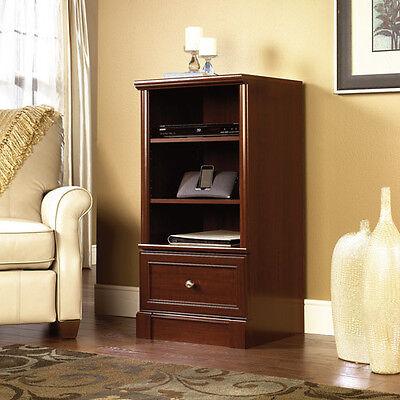Audio Media Tower Cherry Wood Stereo Rack Storage Adjustable Shelves Cabinet (Sauder Audio)