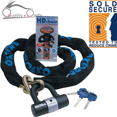 SOLD SECURE 1.5M OXFORD HD Chain Lock Motorbike Motorcycle CHAIN & DISC LOCK