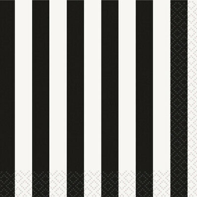 BLACK and WHITE STRIPES LUNCH NAPKINS (16) ~ Birthday Party Supplies Dinner](Birthday Black And White)