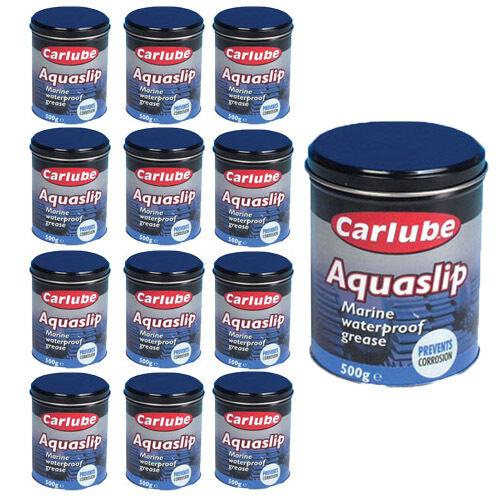 12 x CARLUBE AQUASLIP MARINE WATERPROOF GREASE 500g PREVENT SALT WATER CORROSION