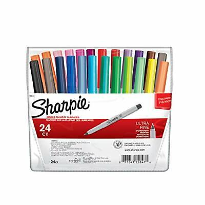 Sharpie 75847 Permanent Markers Ultra Fine Point Assorted Colors 24-count