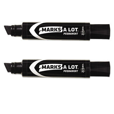 Lot Of 2 Avery 24148 Marks-a-lot Jumbo Permanent Marker Chisel Tip Black