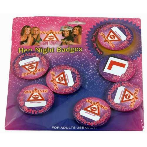 ** 6 X HEN NIGHT BADGES WARNING SIGNS NEW ** LADIES PARTY