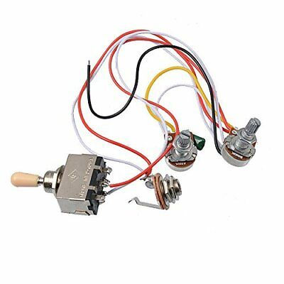 Electric Guitar Wiring Harness Kit 3 Way Toggle Switch 1 Volume 1 Tone 500K Pot