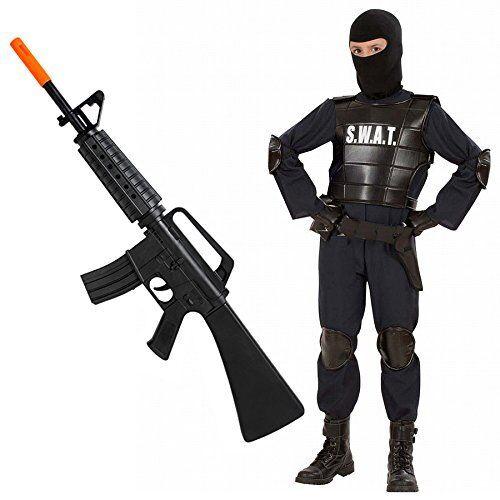 COSTUME Agente SWAT + FUCILE mitra M16 per bambino - Polizia corpi speciali