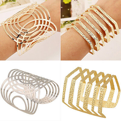 Fashion Unisex Gold Punk Wide Bangle Cuff Waved Solid Hollow Out Bracelet Gift