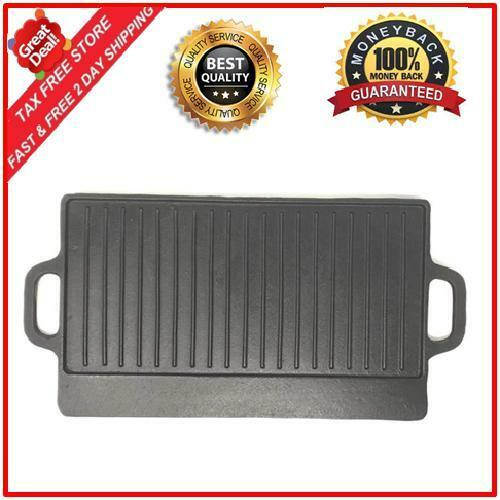 Rectangle Cast Iron Reversible Design Grill Griddle For Stov