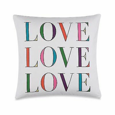 KATE SPADE LOVE THROW PILLOW ~ LOVE ~ WHITE PURPLE PINK GOLD GREEN BLUE ~ NEW