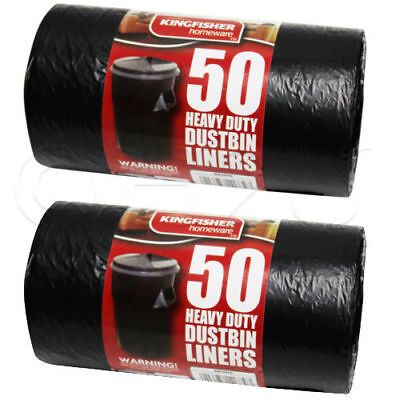 THICK STRONG 100 HEAVY DUTY BLACK REFUSE SACKS BIN LINERS RUBBISH BAGS