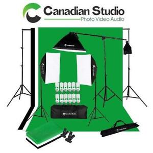 OB VIDEO LIGHTING KIT AND BOOM SET VL-9053 200653191 CANADIAN STUDIO DIGITAL VIDEO CONTINUOUS SOFTBOX KIT OPEN BOX