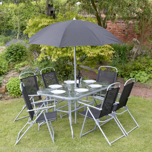 Garden Furniture - 8pc Garden Patio Furniture Set 6 Seater Dining Set Parasol Table And Chairs New