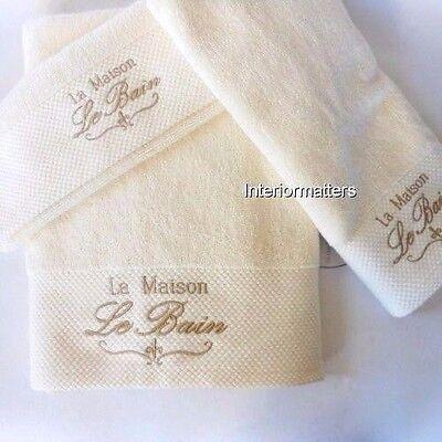 French Le Bain La Maison 6PC 100% COTTON BATH TOWEL SET Cream SOPHIA NEW