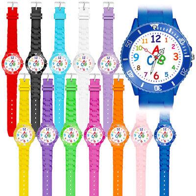 Bunte Silikonuhr Quarz Kinder Armbanduhr Schüler Schulanfang Lernuhr Zahlen Uhr