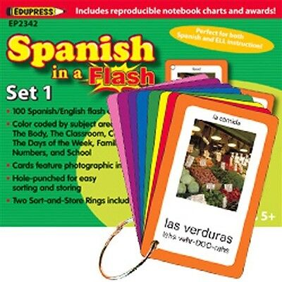 Edupress 2343 Spanish in a Flash Color-Coded Flash Cards Set 2 NEW IN BOX