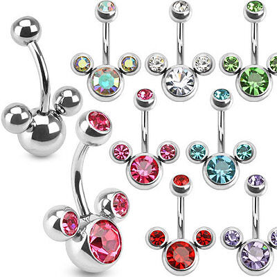 Disney Mickey Mouse Navel Belly Ring Surgical Steel Triple Bubble CZ Gems