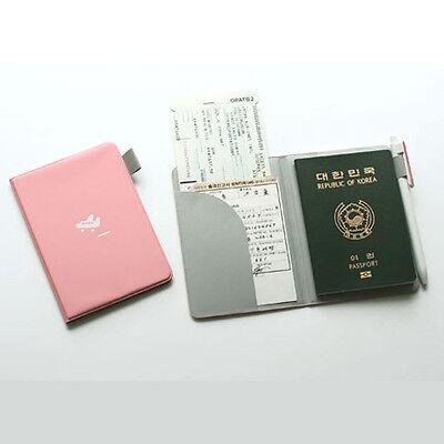 Cute Hard Cover Baby Pink Passport Case Travel Wallet Card Pocket Pen Holder