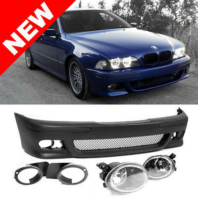 97-03 BMW E39 5-SERIES M5 STYLE FRONT BUMPER W/ CLEAR ECODE FOG LIGHTS + COVERS