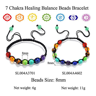 Elegant Rainbow 7 Chakra Bracelet Treatment Balanced Bead Bracelet Jewelry US