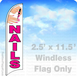 NAILS - WINDLESS Swooper Feather Flag 2.5x11.5 Manicure Salon Banner Sign - wb