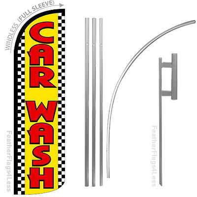 Car Wash - Windless Swooper Flag Kit Feather Banner Sign - Checker Yq