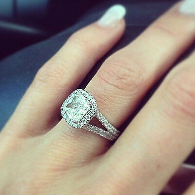 2.00 Ct. Natural Cushion Cut Halo Split Shank Diamond Engagement Ring - GIA Cert
