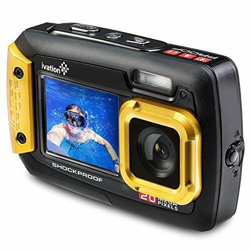 Ivation 20MP Underwater Waterproof Shockproof Digital Camera & Video Camera w/Du