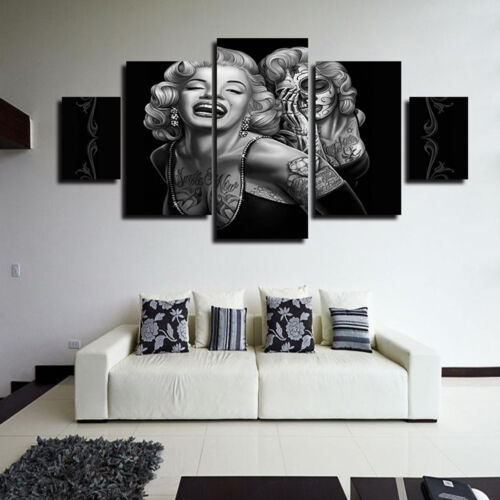 Marilyn Monroe Skull 5 pcs Art Painting Picture Print Canvas Home Wall Decor