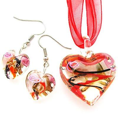 (Red Swirl Rose Heart Lampwork Glass Murano Pendant Ribbon Necklace Earring Set)