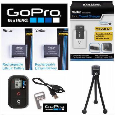 2X Battery for GoPro HERO7 Treacherous AABAT-001 + CHARGER 110-220V + Slight +TRIPOD