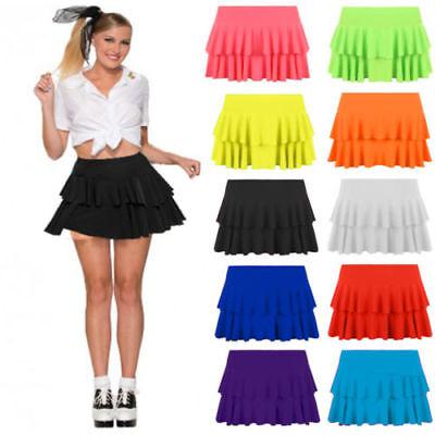 Damen Mädchen Neon Rara Minirock 80s Tanz Club - Rüschen Shorts Kostüme