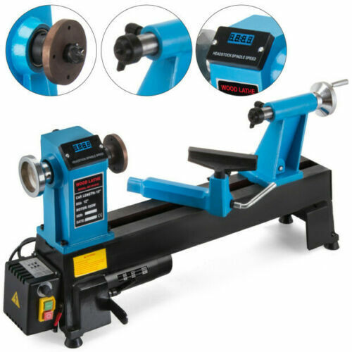 "Wood Lathe 12"" X 18"" Digital Readout 550W Bench Top Cast Iron-Up To 3800RPM"