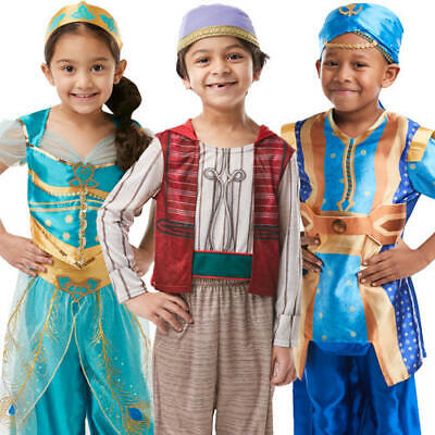Aladdin Kids Fancy Dress Jasmine Genie Disney Fairy Tale Boys Girls Costumes