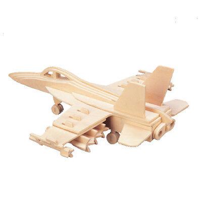 F-18 3D Holzbausatz Flugzeug Flieger Holz Steckpuzzle Holzpuzzle Kinder Bauen ()