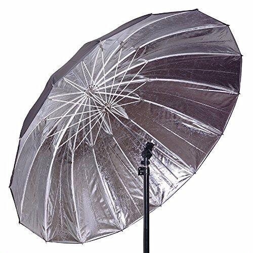 "57"" Strobe Speedlight Flash Reflector Silver Black Reflective Parabolic Umbrella"