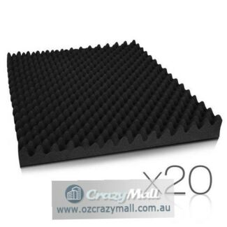 20 Pcs Self Adhesive Studio Eggshell Acoustic Foam Black 50x50cm