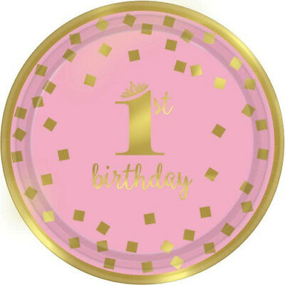 1st BIRTHDAY Pink and Gold SMALL PAPER PLATES (8) ~ Party Supplies Cake Dessert - Pink And Gold Birthday Party Supplies