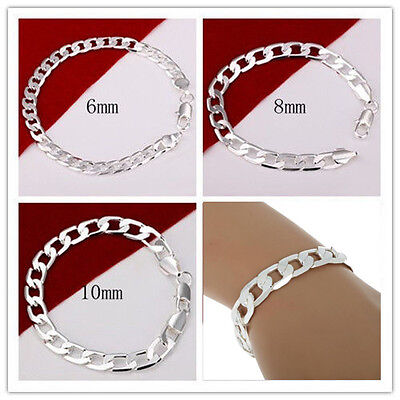 Großhandel Armbänder (Großhandel Unisex 6-10mm Massives Silber Schmuck Kettenarmband-Armband Mode DE)