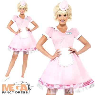 50's Diner Girl Ladies 1950s Fancy Dress Rock n Roll Grease Womens Adult Costume - 1950s Diner Costume